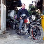 World traveller Theo on his BSA in Bangkok. Thailand.