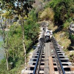 Death Railway bridge at Saiyok. Thailand.