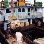 Loading in the port of Georgetown on Penang. Malaysia.