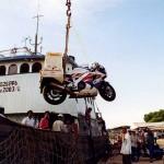 Unloading in Belawan port near Medan on Sumatra. Indonesia.