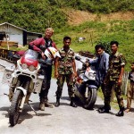 Ray van Seeters on Cagiva. Checkpoint on west Sumatra. Indonesia.