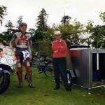 John Doyle towing accommodation behind bicycle. New Zealand.