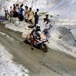 Landslide passed Gilgit on the Karakoram Highway. Pakistan.
