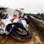 Battling the mud just north of Marsabit. Kenya.
